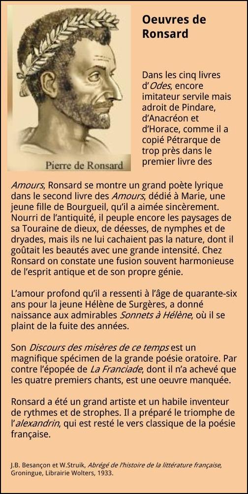 Pierre De Ronsard 1524 1585 La Franaise