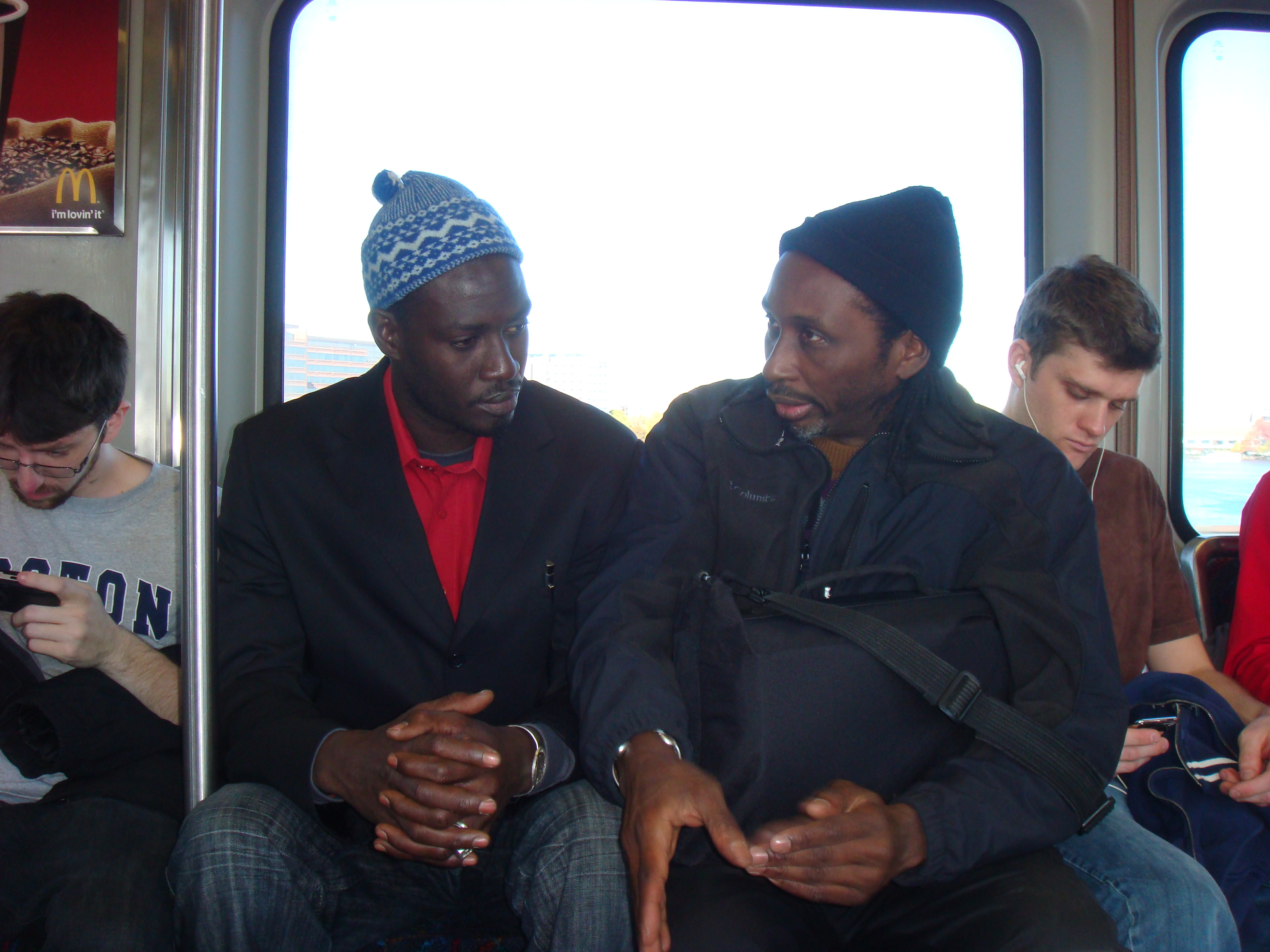 Moustapha and Sipho on the train.