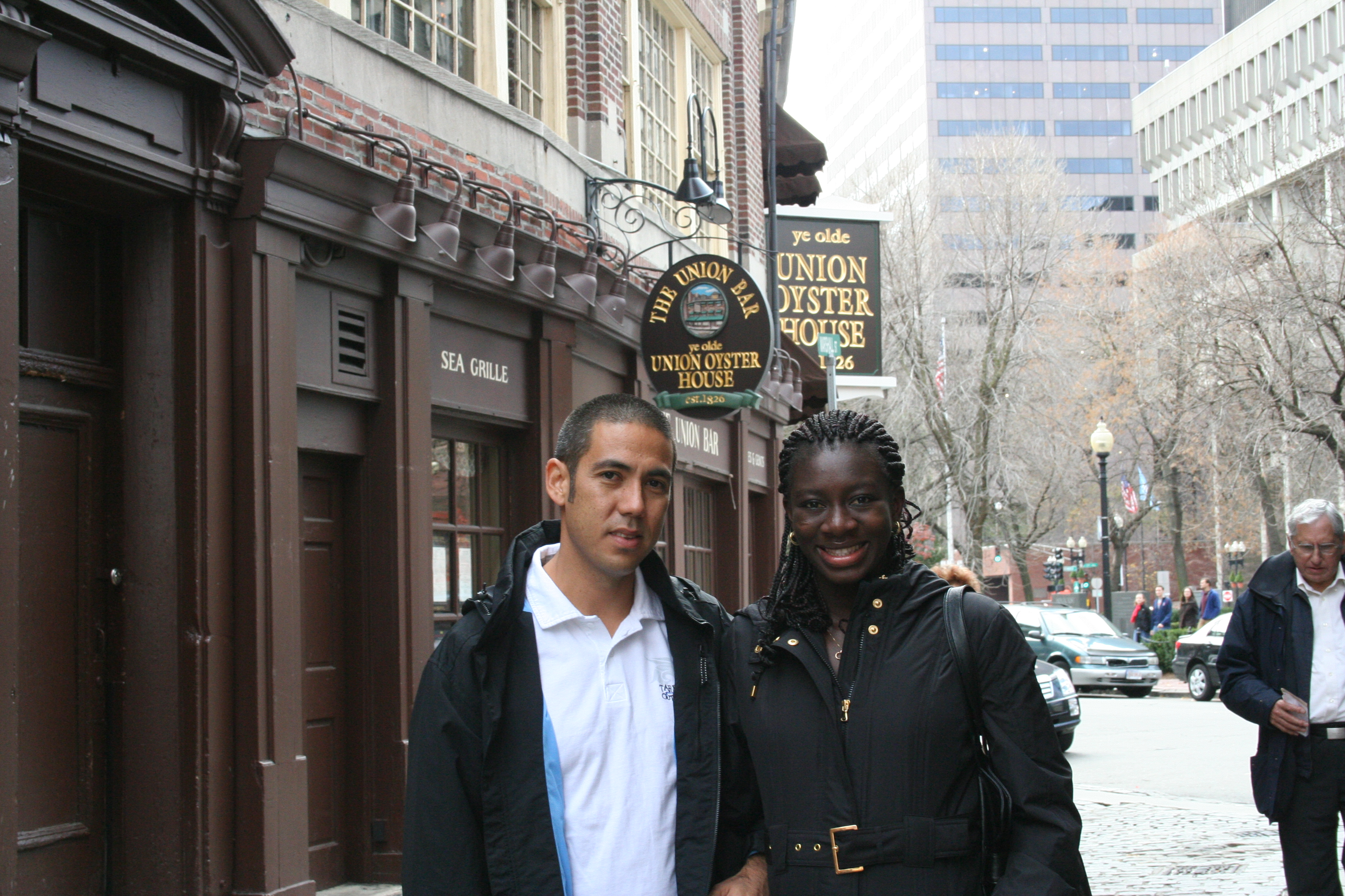 Kapono and Ndey Ngom Faye by the Union Oyster House in Boston.