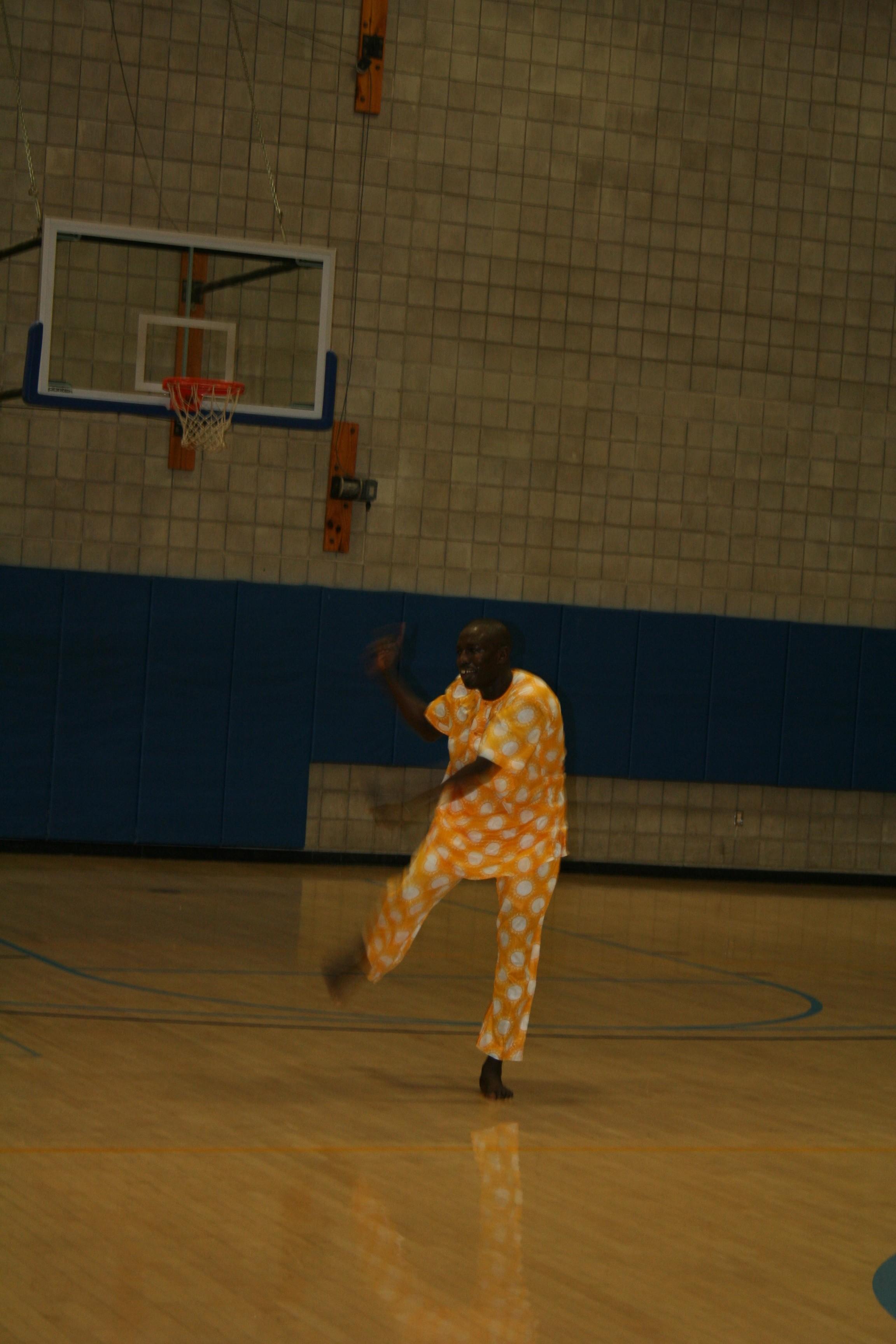 Aziz Faye demonstrates some dance moves.