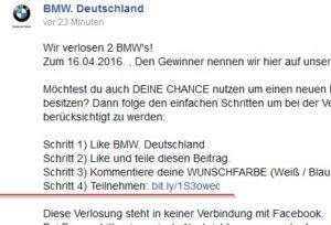 facebook bmw gewinnspielfake