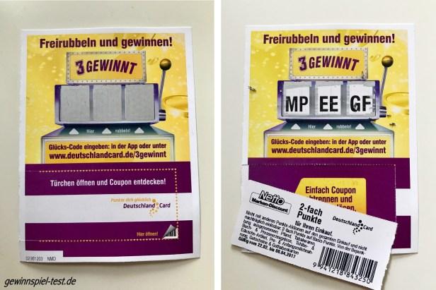 3 GEWINNT DeutschlandCard Rubbellos von Netto Markendiscount