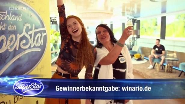 """Einblendung bei Deutschland sucht den Superstar: """"Gewinnerbekanntgabe: winario.de"""""""