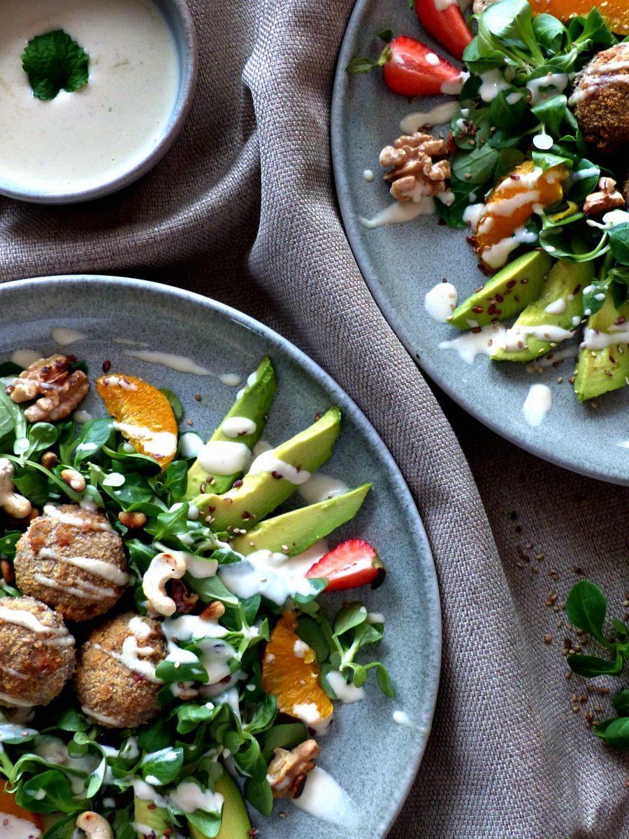 Feldsalat Pilze Tahini vegan