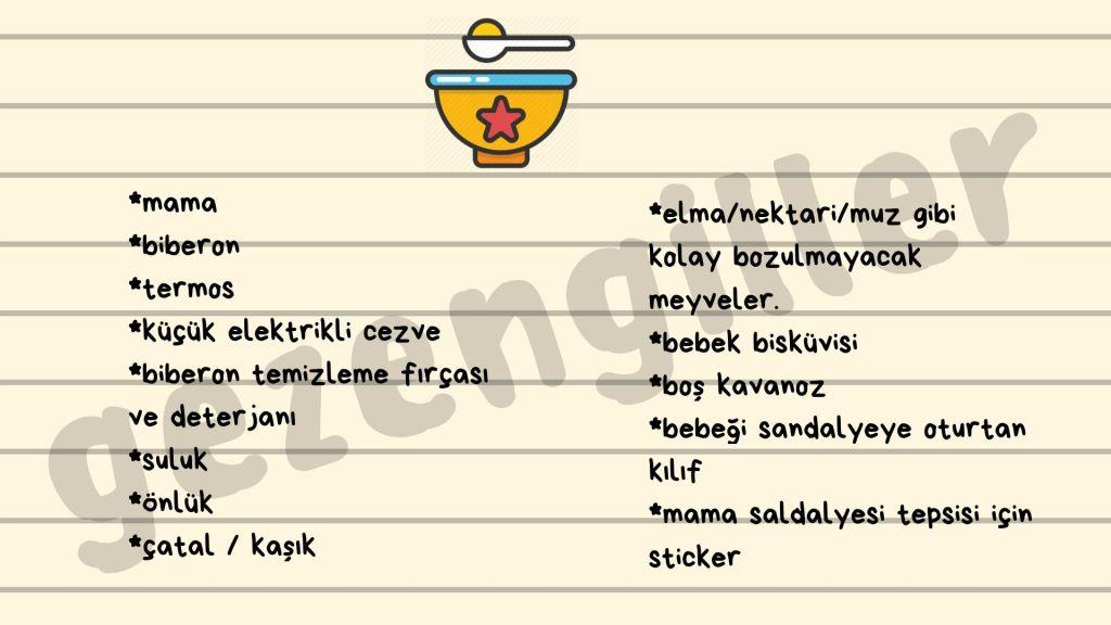 bebekle seyahat için yeme- içme listesi