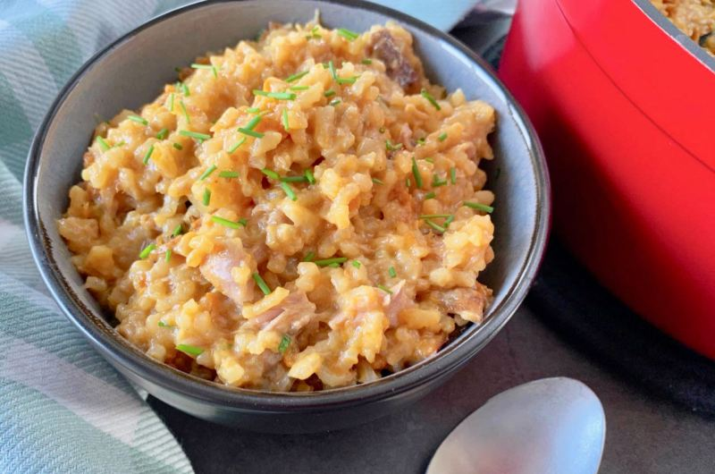 Smeuïge risotto met tonijn en zoete aardappel