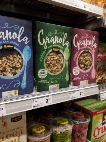 Vergelijk van granola uit de supermarkt