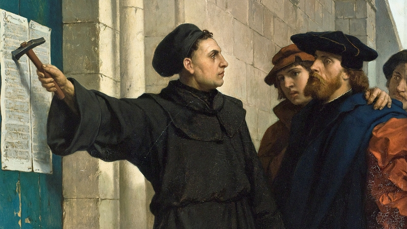 Luther posting his 95 theses in 1517 by  Ferdinand Pauwels (1830–1904)
