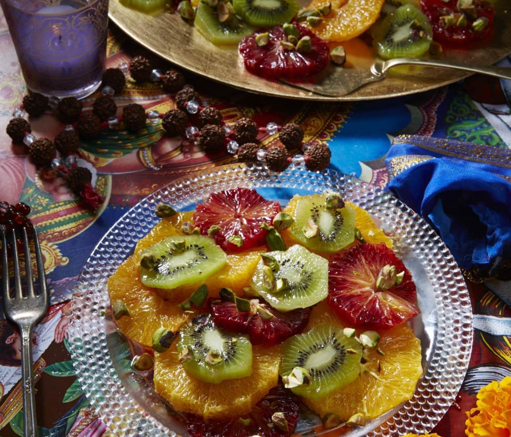 Blood Orange and Kiwi Fruit Salad with Pistachios and Rose Water Recipe