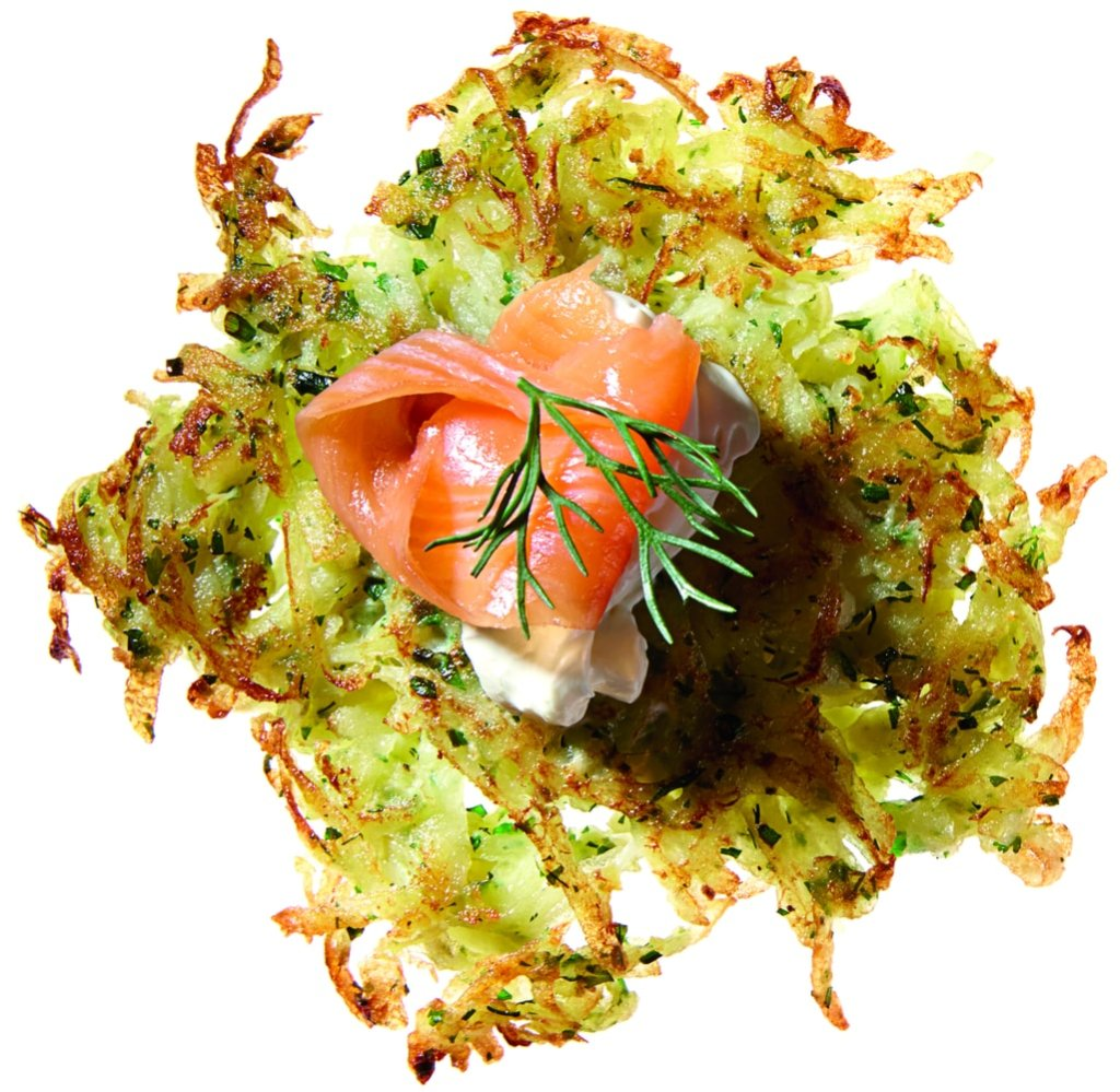 Gluten-Free Herb Latkes with Smoked Salmon and Sour Cream Recipe