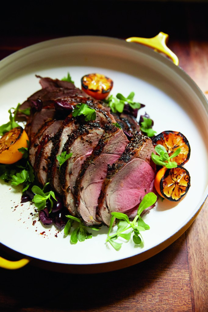 Gluten-Free Roasted Leg of Lamb with Grilled Meyer Lemons and Black Olives Recipe