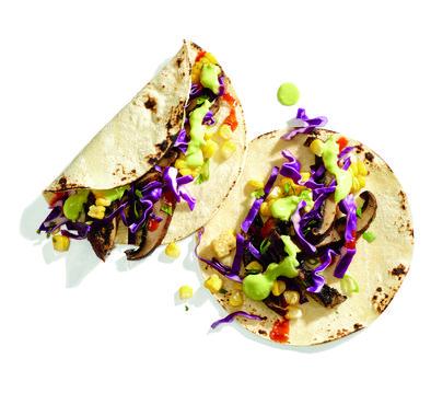 """Gluten-Free Grilled Corn and Portobello Tacos with Avocado """"Cream"""" Recipe"""