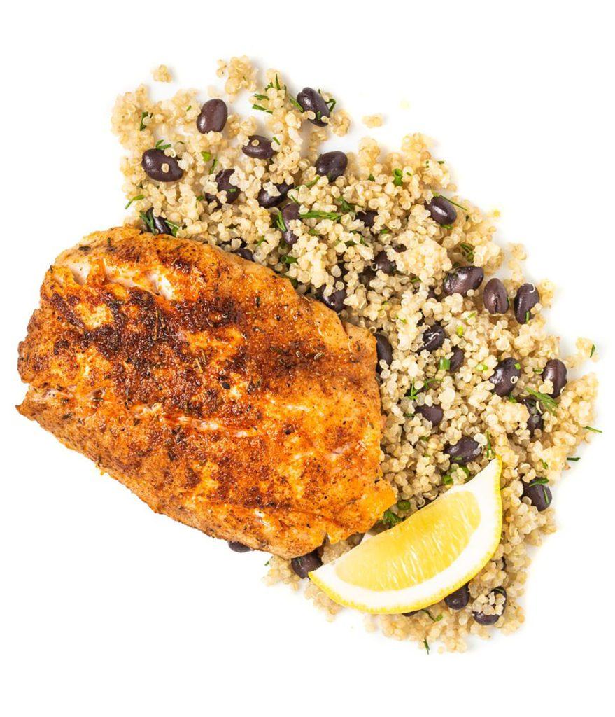 Blackened Rockfish with Black Bean Herbed Quinoa Gluten-Free Recipe