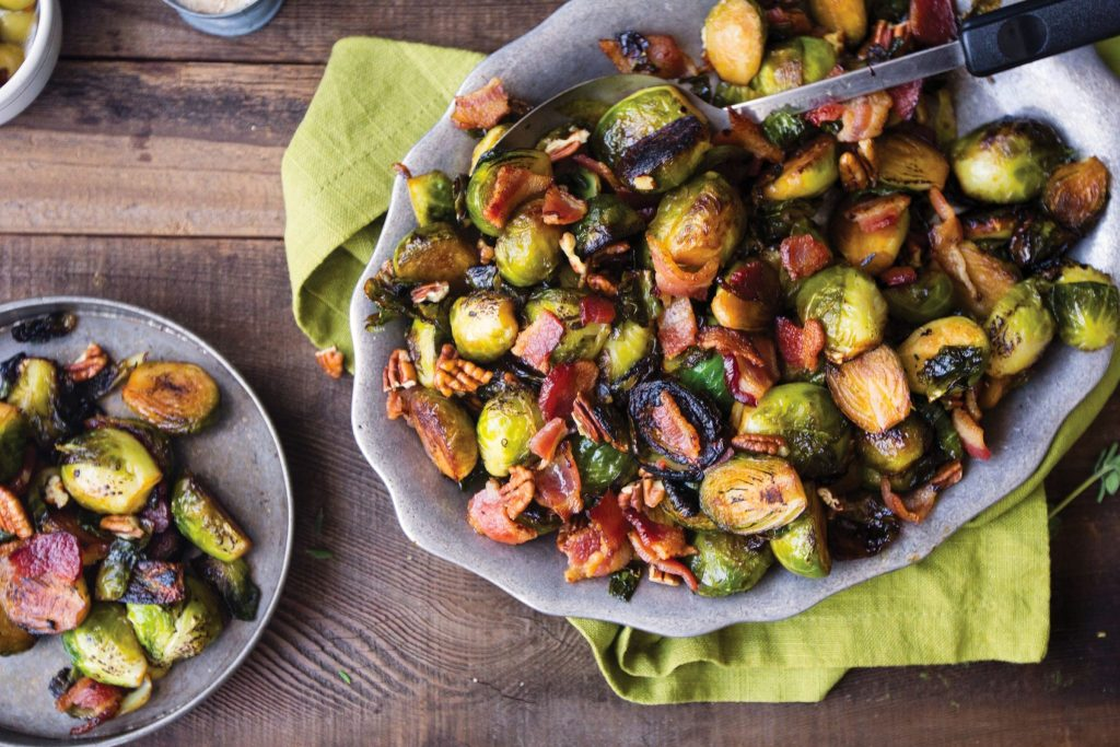 Gluten-Free Bourbon-Glazed Brussels Sprouts with Pecans and Bacon