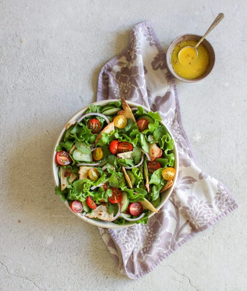 Fattoush Salad with Orange Dukkah Dressing Gluten-Free Recipe