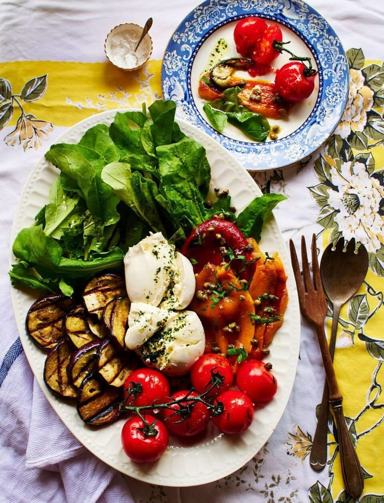 Burrata and Grilled Vegetables with Arugula and Basil Oil