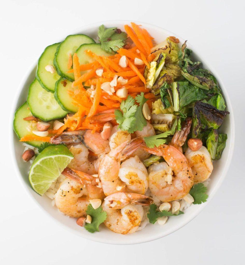 Gluten-Free Charred Shrimp and Lettuce Rice Bowl