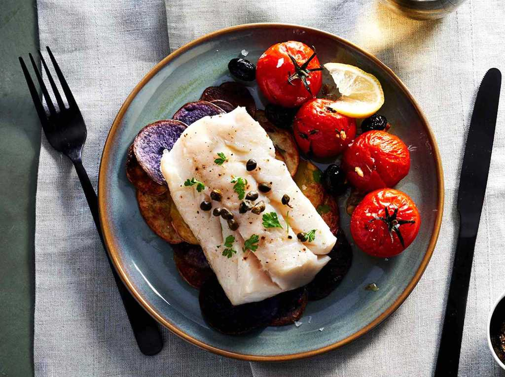 Gluten-Free Roasted Cod, Potatoes, and Tomatoes Recipe