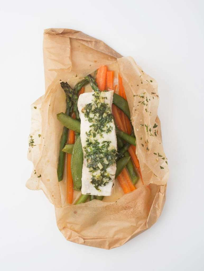 Gluten-Free Rockfish en Papillote with Spring Vegetables and Tarragon Butter