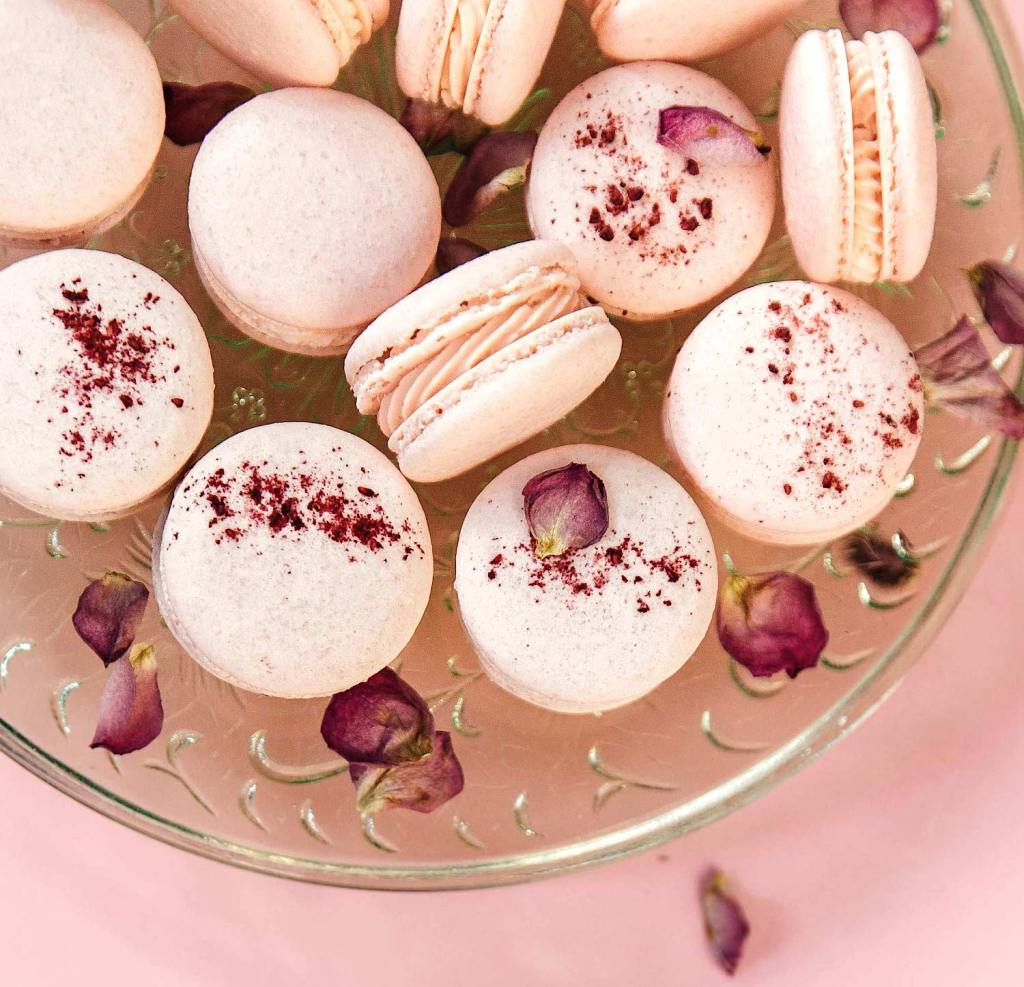Gluten-Free Raspberry Macarons with Rose Buttercream