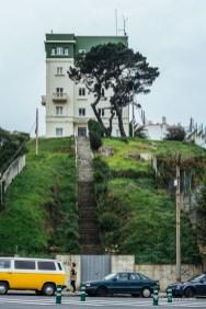 Me llamó mucho la atención. Solitaria, un punto tétrico, la escalera y el árbol retorcido.