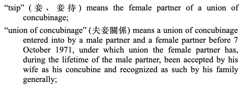 Concubine definition in Hong Kong inheritance ordinance