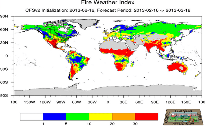 Fire Weather Index Monthly Forecast Example