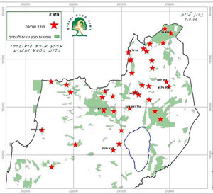 Map showing forest fires hotspots in Israel