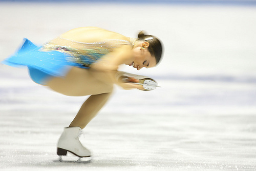 A figure skater representing the low cartilage friction coefficient