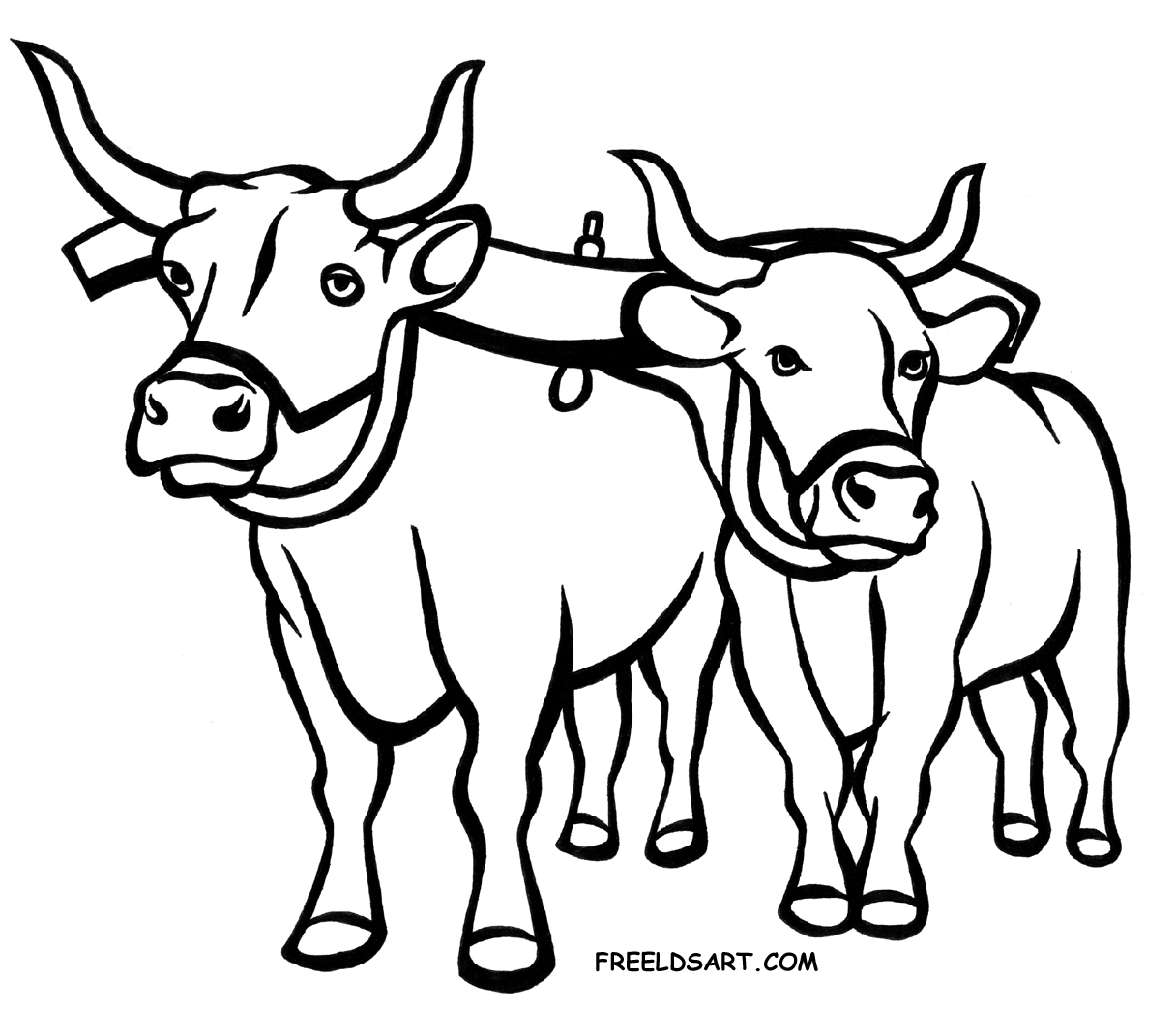 Yoke Oxen Clip Art Black And White Sketch Coloring Page