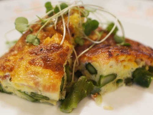 Crustless Blue Cheese, Asparagus and Ham Quiche
