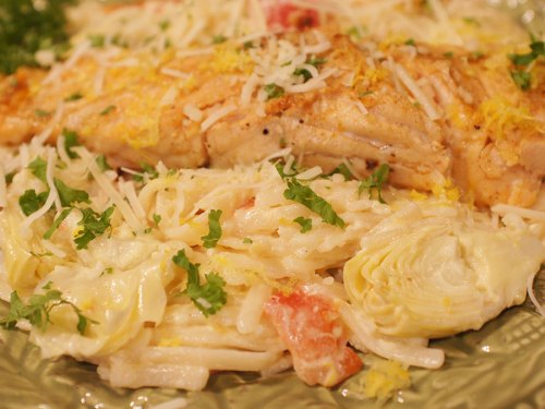 Baby Artichoke Hearts & Tomato Linguine Served with Baked Salmon & Lemon Cream Sauce