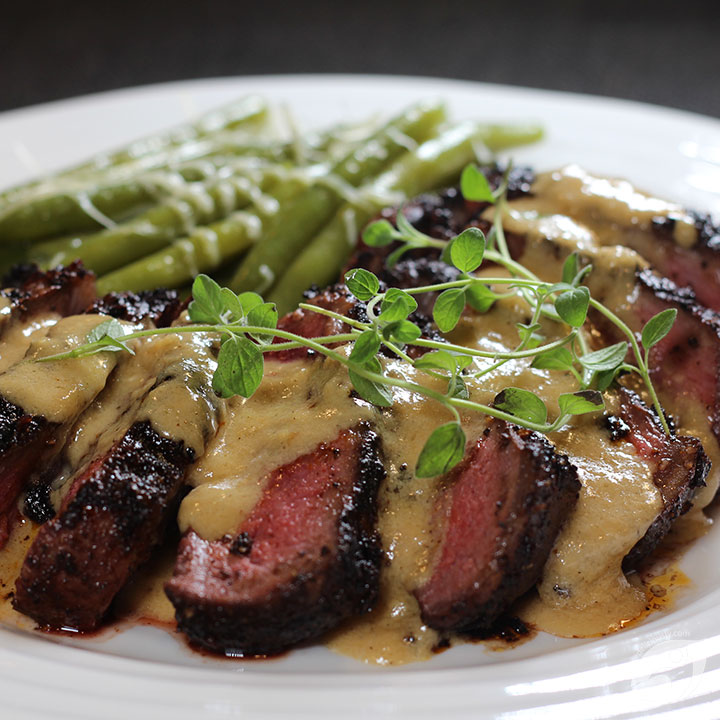 Chocolate & Coffee Rubbed New York Strip Steak with Bourbon Parmesan Cream Sauce
