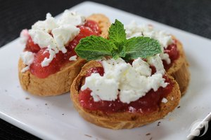 Cherry Rhubarb Sauce and Goat Cheese Baguettes