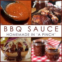 Social Sharing Graphic 4-up Homemade BBQ Sauce in 'A Pinch' sauce, ribs, sandwich