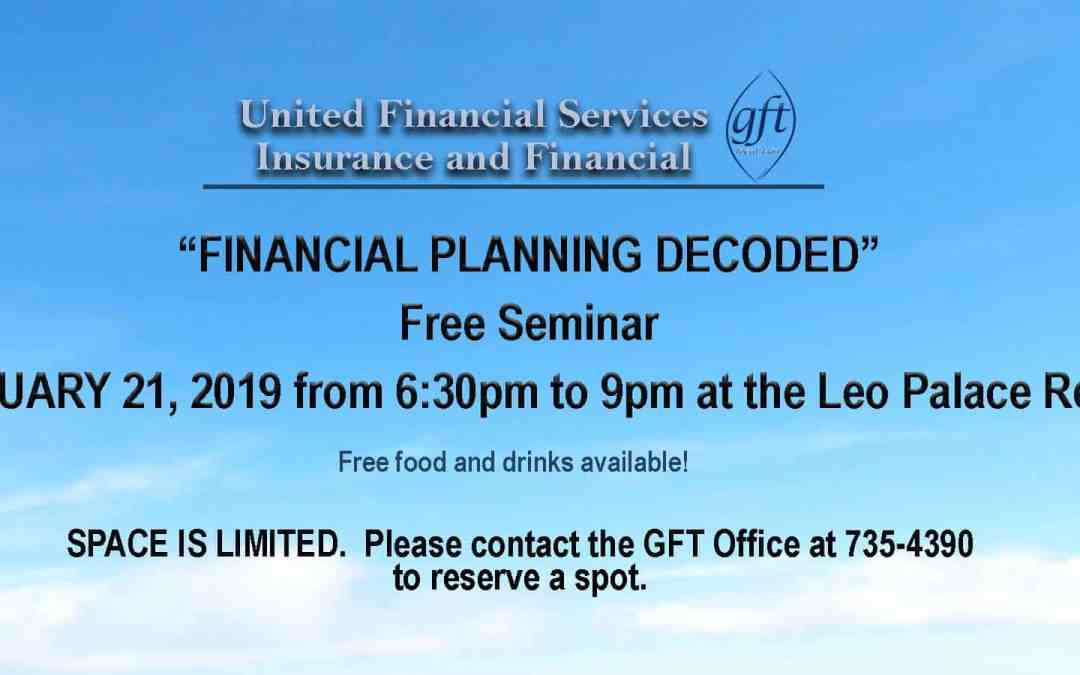 FINANCIAL PLANNING DECODED SEMINAR: FEBRUARY 21