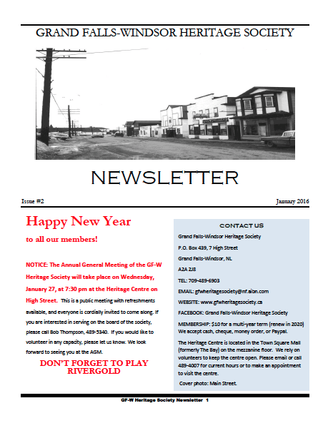 GFW Heritage Society Newsletter January 2016