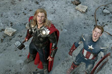 Avengers - Chris Hemsworth (Thor) and Chris Evans (Captain America) - still from the Marvel movie)