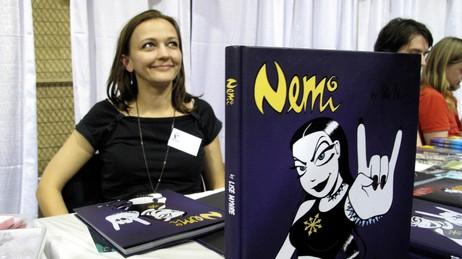 Lise Myhre og Nemi på tegneseriefestival i New York (Foto: Randi H. Svendsen/NRK)