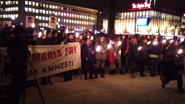 Demonstrasjon for Maria Amelie i Trondheim (Foto: Lars Erik Skjærseth/NRK)