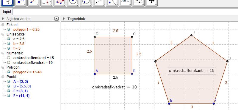 Mål omkreds af polygon vha. inputfeltet | ggbkursus.dk