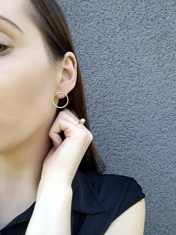 Gold colour circle earrings GG UNIQUE