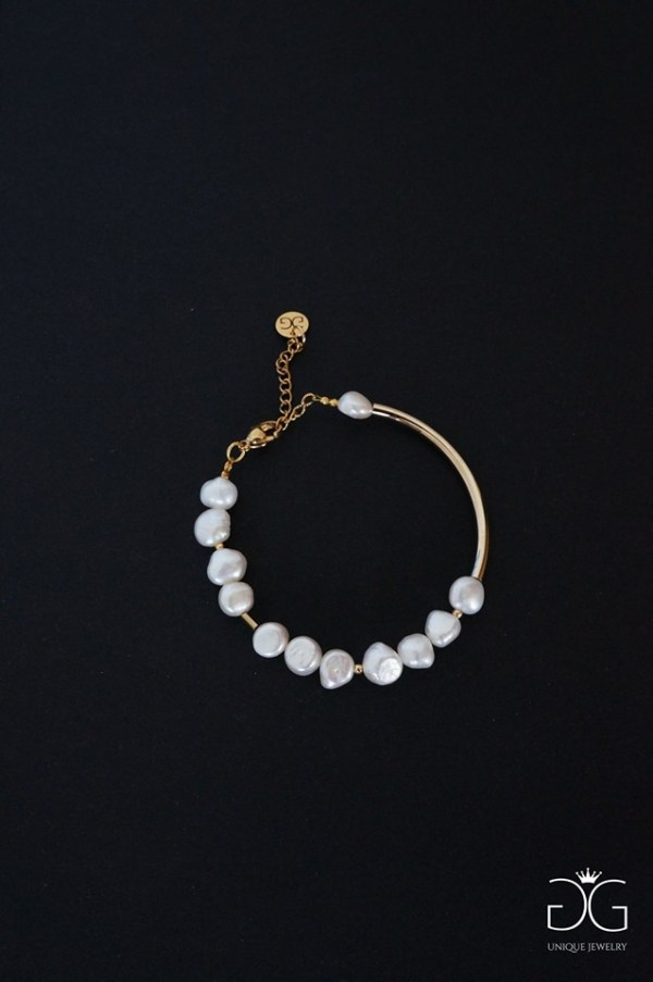 Fresh water pearl and stainless steel bracelet - GG UNIQUE