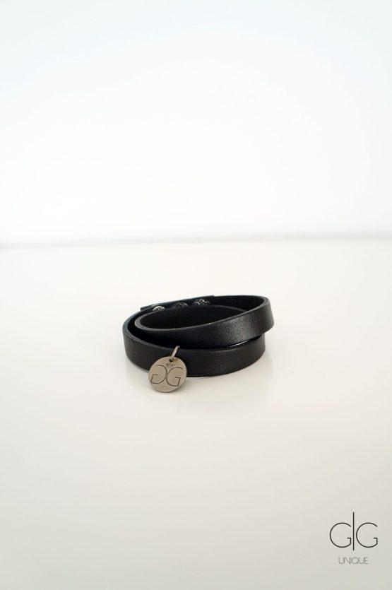 Black double line natural leather bracelet GG UNIQUE