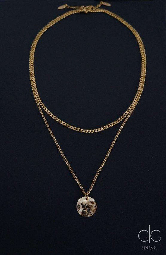 Stylish massive chain double layer gold color necklace - GG UNIQUE