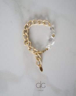 Massive trendy mountain crystal bracelet in gold - GG UNIQUE