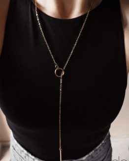 Minimal necklace with a small gold plated circle GG UNIQUE