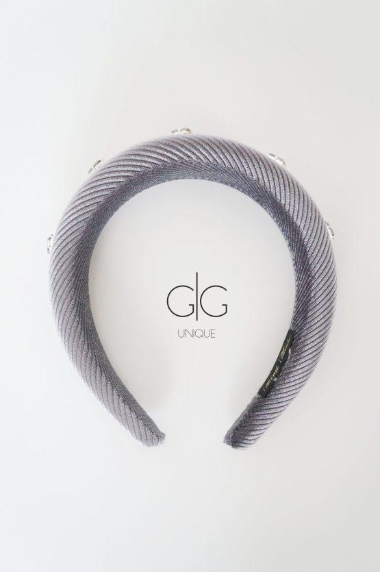 Grey headband with crystals - GG UNIQUE