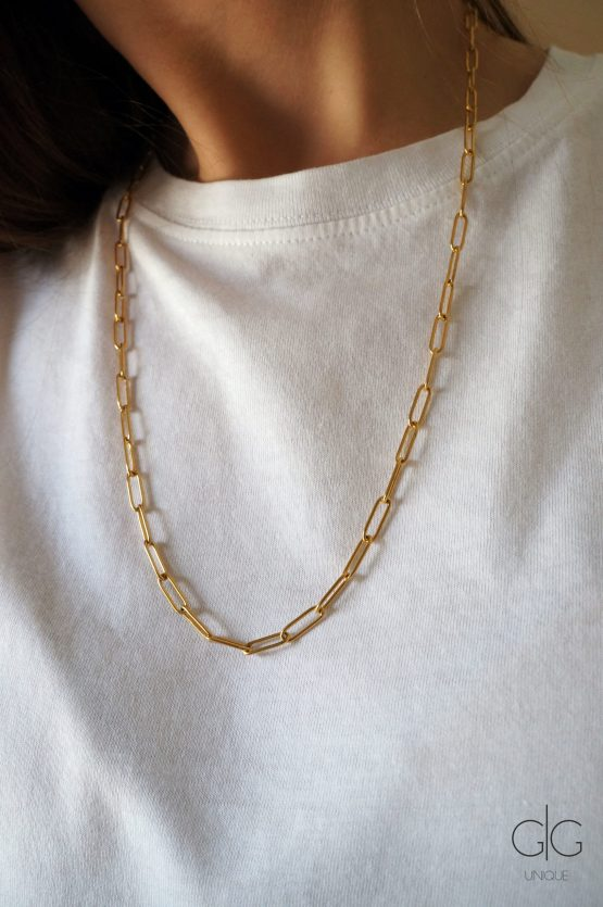 Long square gold plated necklace with a pearl - GG UNIQUE
