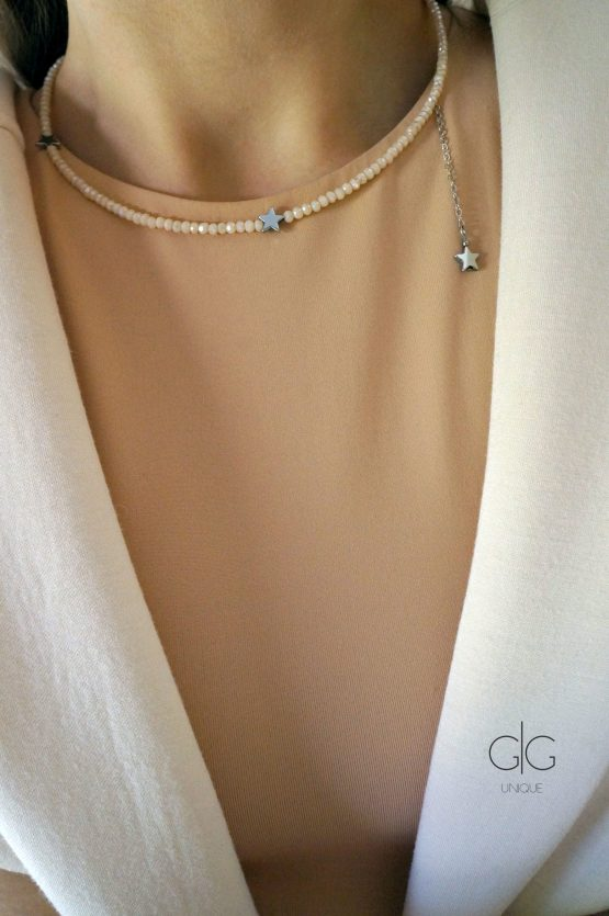 Star necklace with crystals nude color - GG UNIQUE